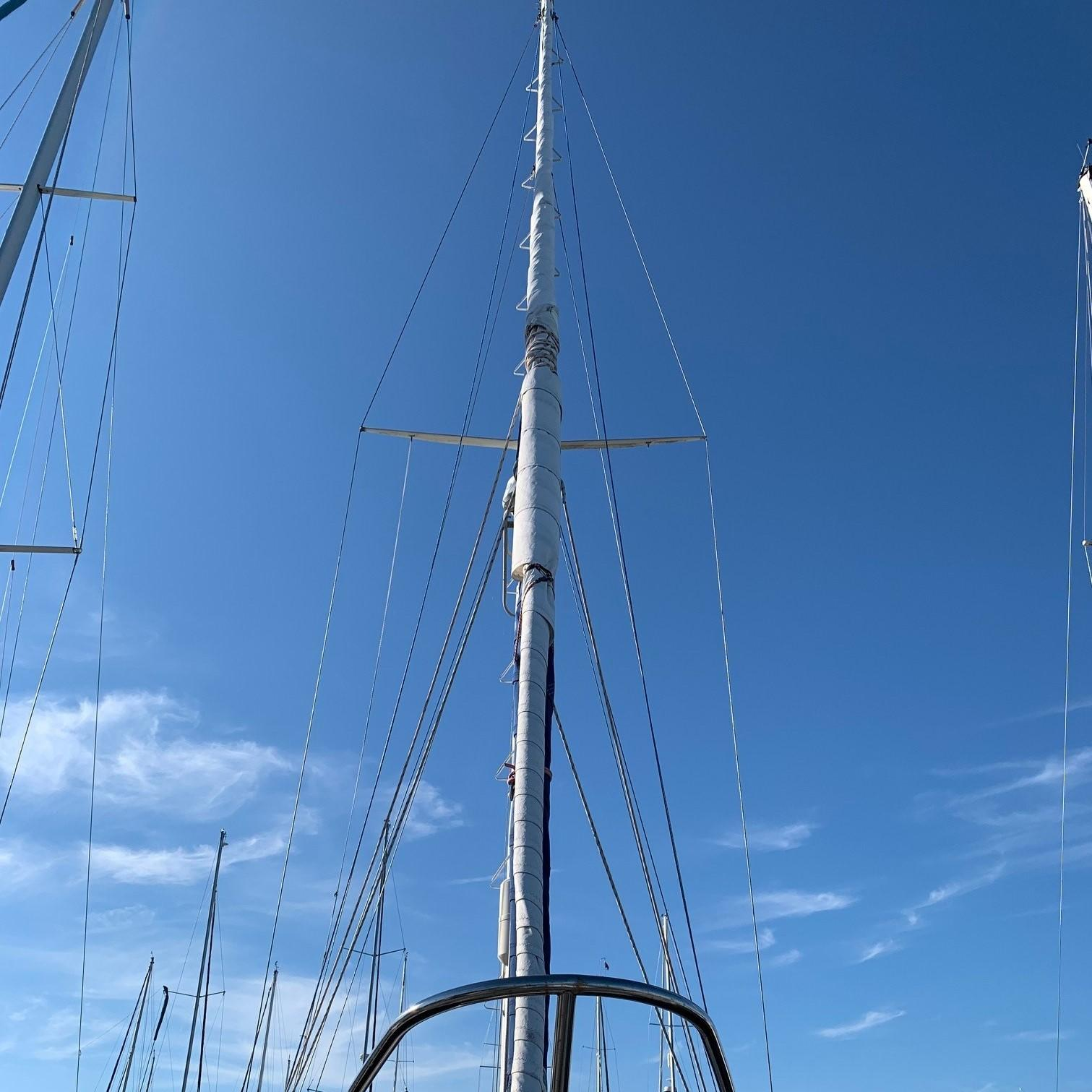 Climbing steps on mast