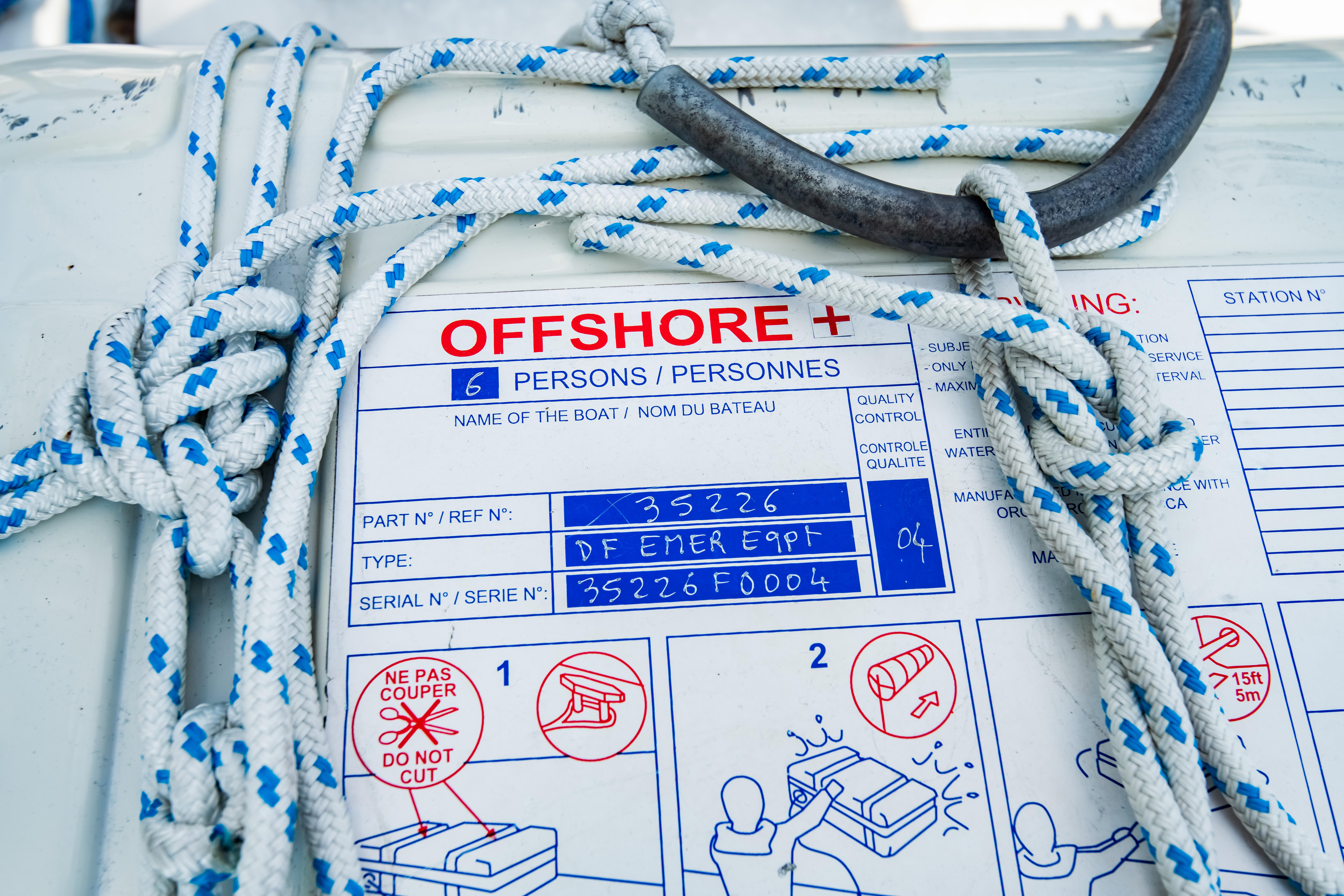 Life Raft placard close-up